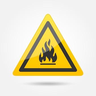 Fuoco attenzione pericolo simbolo icona emblema isolato su sfondo bianco illustrazione vettoriale