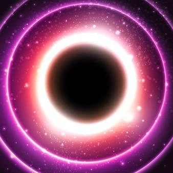 Fuoco cerchio incandescente su uno sfondo del cosmo stellato.