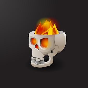 Fuoco che brucia nell'illustrazione di vettore del cranio