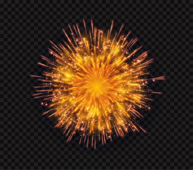 Fuoco d'artificio istantaneo scintillante brillante luminoso isolato su fondo nero