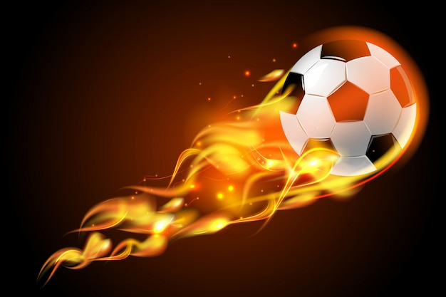 Fuoco del pallone da calcio su fondo nero