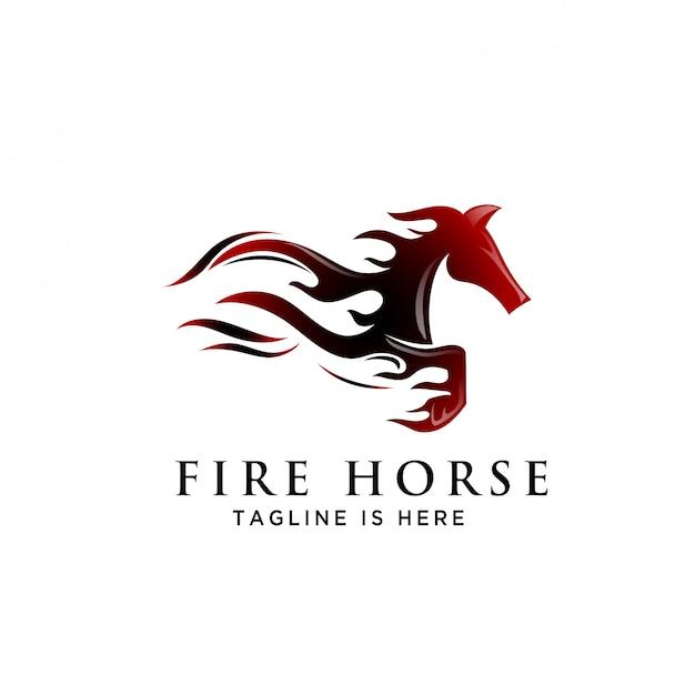 Fuoco logo cavallo salto veloce velocità