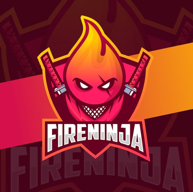 Fuoco ninja mascotte esport logo gaming