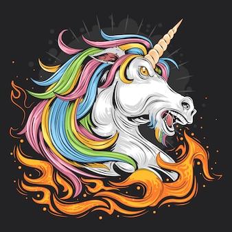 Fuoco unicorno colore pieno