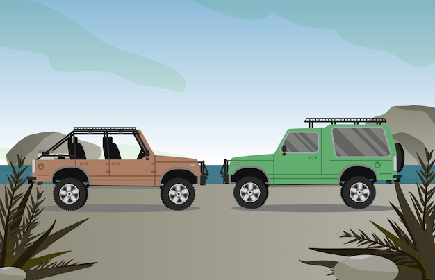 Fuori dall'automobile della strada sulla strada con la scena della spiaggia