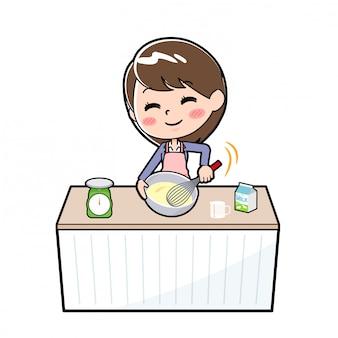 Fuori linea cuoco della donna di affari mescolare