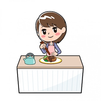 Fuori linea impilamento cuoco donna di affari