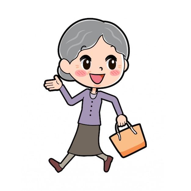 Fuori linea viola indossa la nonna che cammina a