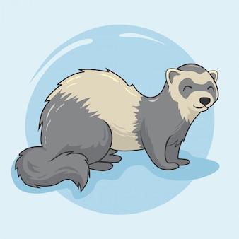 Furetto cartoon weasel animals stoat mink