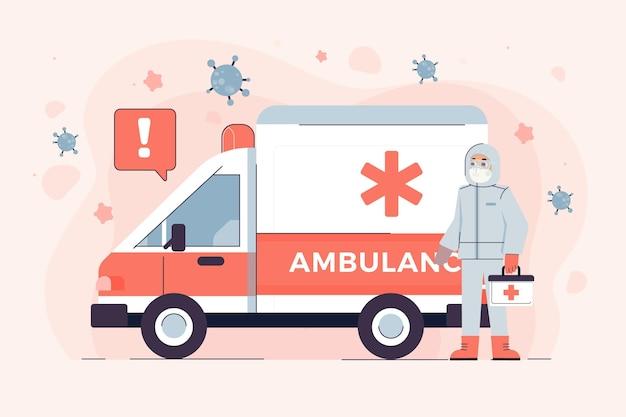 Furgone dell'ambulanza e persona in tuta ignifuga