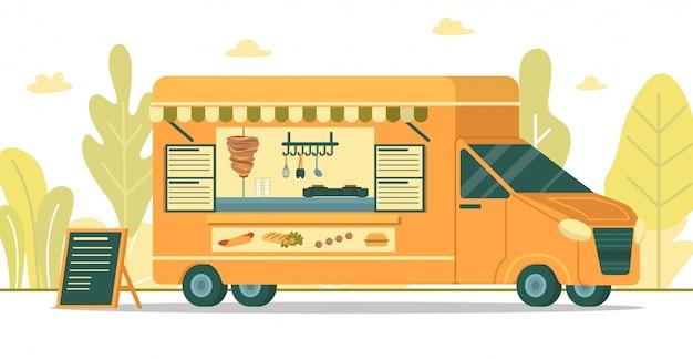 Furgone per fast food con menu