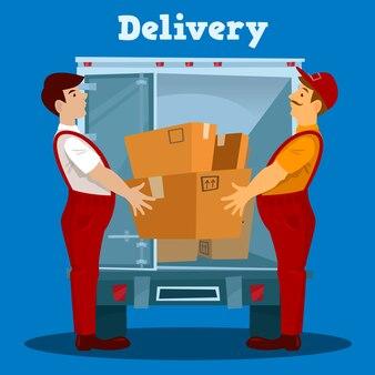 Furgone per le consegne. fattorino con scatola. concetto di consegna. illustrazione vettoriale