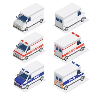 Furgoni isometrici con ambulanza e auto della polizia