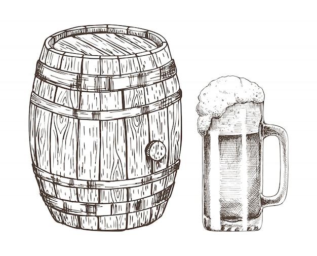 Fusto di birra e bicchiere di birra inglese isolato su bianco