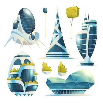 Futuri edifici della città, grattacieli e alberi