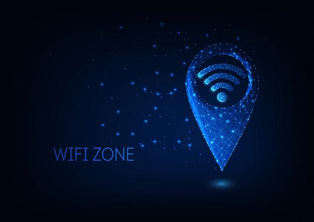 Futuristici incandescenti bassi poligonali gps e simboli wifi isolati su sfondo blu scuro.