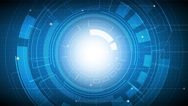 Futuristico astratto di tecnologia sulla pendenza blu con il circuito, la tecnologia digitale alta tecnologia e l'ingegneria, concetto digitale delle telecomunicazioni