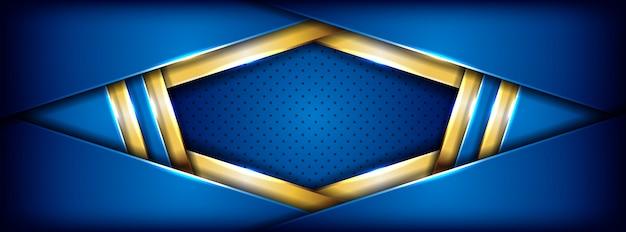 Futuristico blu moderno con fondo dorato dell'insegna della linea
