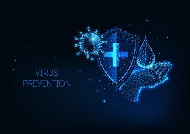 Futuristico con coronavirus incandescente basso poligonale covid-19 protezione dalle malattie infettive