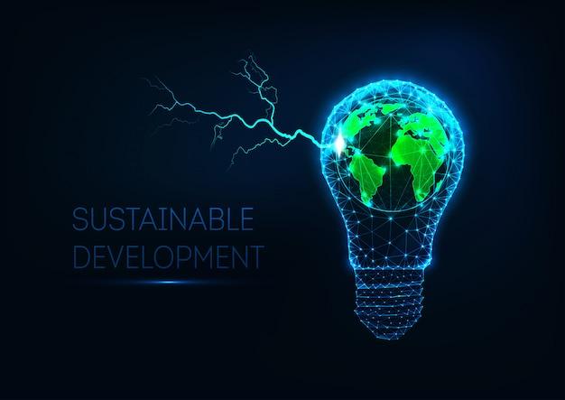 Futuristico concetto di energia sostenibile con lampadina a bassa luce poligonale, mappa della terra e fulmini.