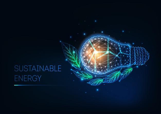 Futuristico concetto di energia sostenibile con lampadina poligonale bassa, turbine eoliche e foglie verdi