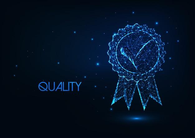 Futuristico concetto di qualità premium con icona della medaglia omologata bassa poligonale incandescente.