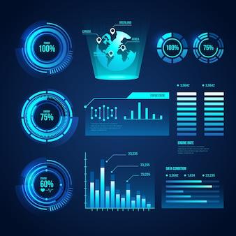 Futuristico concetto di raccolta infografica