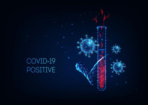 Futuristico concetto diagnostico di coronavirus covid-19 con apparecchiature di test di laboratorio e cellule virali