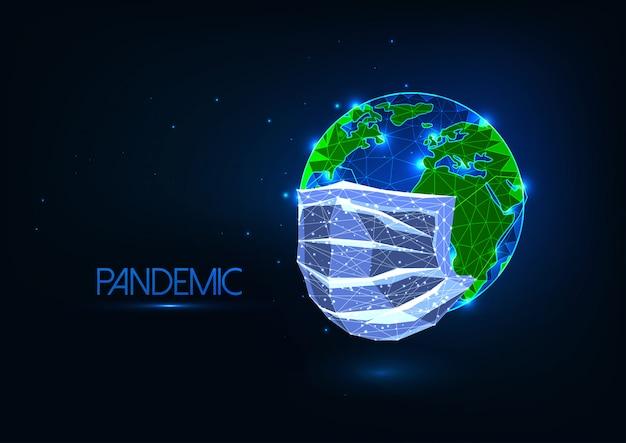 Futuristico covid-19 coronavirus il concetto globale pandemico con maschera medica poli basso bagliore copre la terra