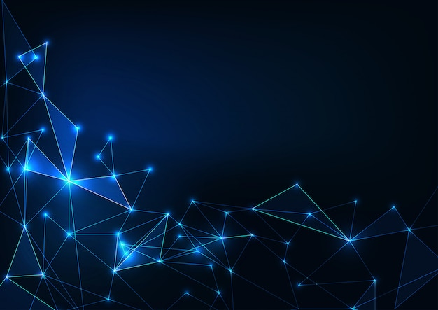 Futuristico incandescente bassa scienza sfondo poligonale su blu scuro. concetto di intelligenza artificiale.