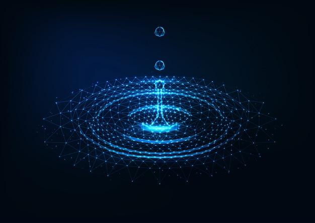Futuristico incandescente basso poli gocce d'acqua che cadono e increspature del cerchio d'acqua su blu scuro.