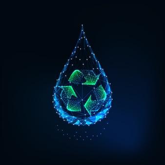 Futuristico incandescente basso poli goccia d'acqua con segno di riciclo all'interno