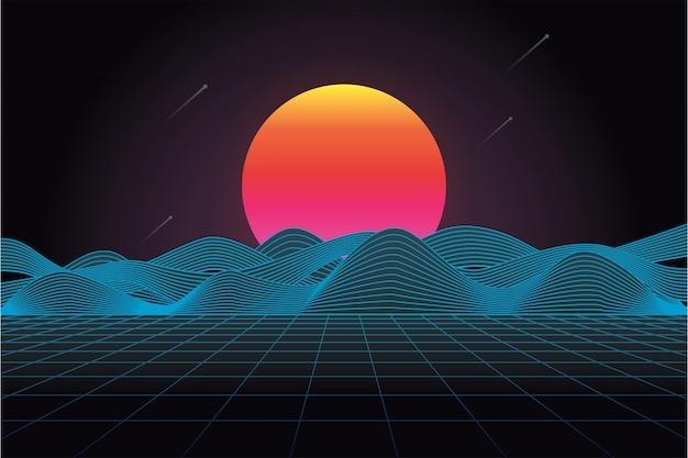Futuristico paesaggio retrò anni '80 con sole e montagna