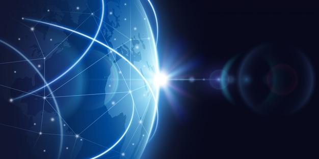 Futuristico sfondo della rete internet globale. concetto di vettore di globalizzazione in tutto il mondo