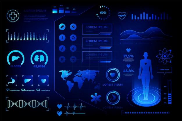 Futuristico stile medico infografica
