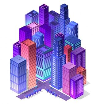 Futuro 3d isometrico futuristico