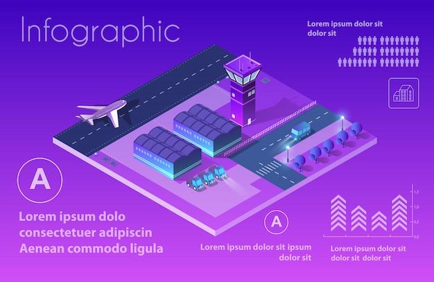 Futuro aeroporto 3d isometrico