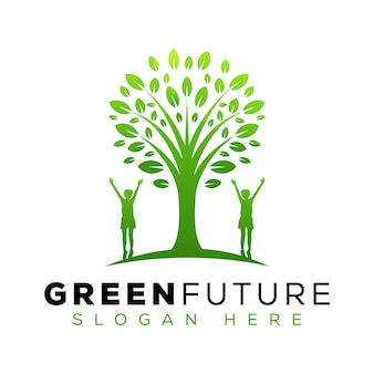 Futuro albero verde logo design