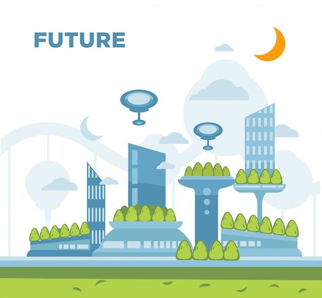 Futuro concetto di città paesaggio. vector l'illustrazione moderna del fondo di paesaggio urbano