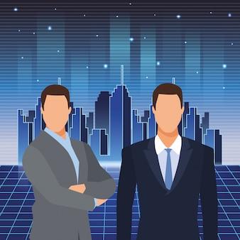 Futuro dell'interfaccia di realtà virtuale degli uomini d'affari di tecnologia di intelligenza artificiale