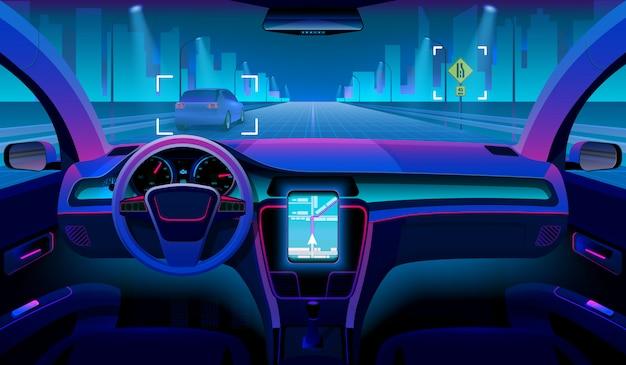 Futuro veicolo autonomo, interno auto senza conducente con ostacoli e panorama notturno all'esterno
