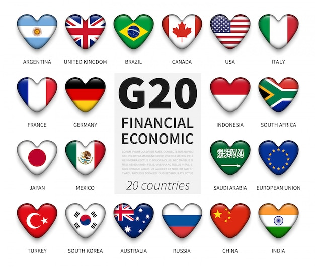 G20. gruppo di venti paesi e bandiera di appartenenza. associazione internazionale di governo economica e finanziaria