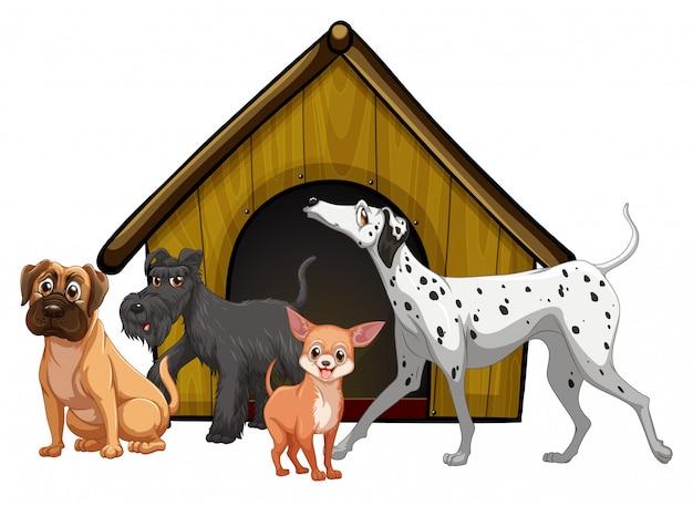 Gabbia per cani con il fumetto del gruppo di cani isolato