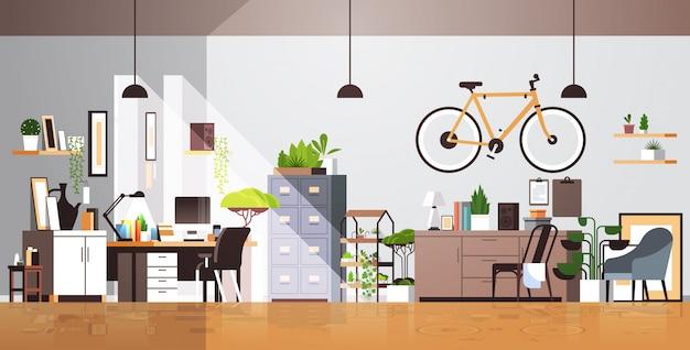Gabinetto moderno del posto di lavoro interno vuoto del salone nessun appartamento della gente con orizzontale della mobilia