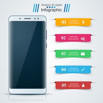 Gadget digitale, smartphone. infografica di affari