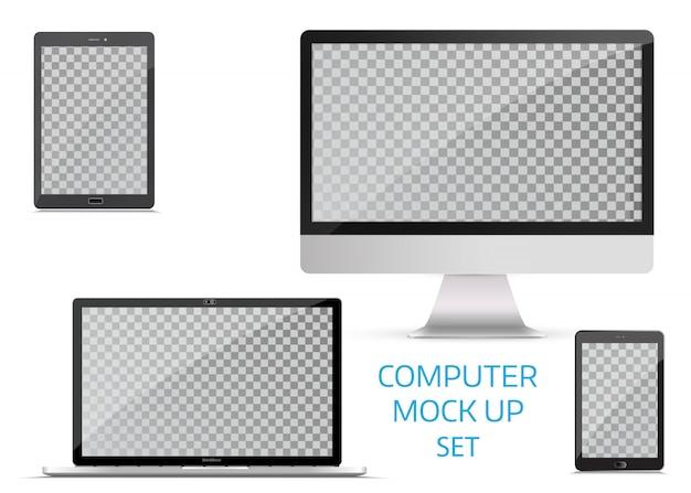Gadget elettronici, isolati, su sfondo bianco.