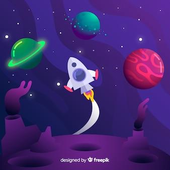 Galassia a gradiente con sfondo di razzi