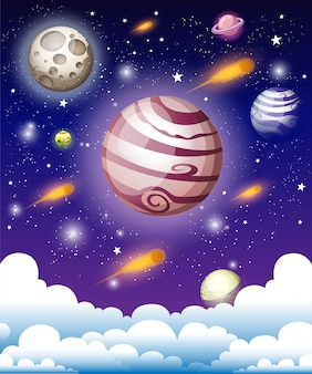Galassia cosmica con nebulosa, polvere di stelle e stelle brillanti. illustrazione per il vostro disegno, illustrazione di spazio opere d'arte