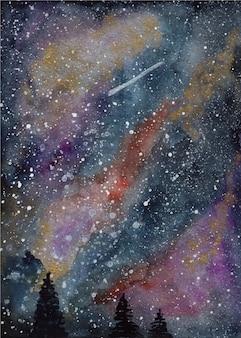 Galassia dell'acquerello e sfondo di alberi di pino