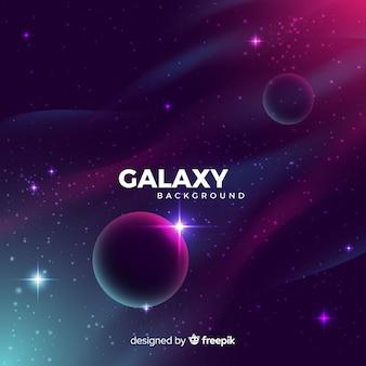 Galassia realistica con sfondo di pianeti